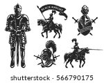 a set of medieval knights.... | Shutterstock .eps vector #566790175