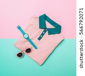 flat lay fashion set of pink... | Shutterstock . vector #566792071