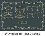 set of golden hand drawn text... | Shutterstock .eps vector #566792461