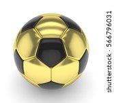 Golden Soccer Ball On White...