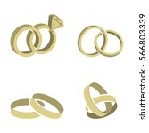 wedding rings set of gold metal | Shutterstock . vector #566803339