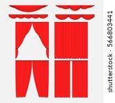 set of red silk velvet curtains ... | Shutterstock . vector #566803441