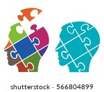 two puzzle heads silhouettes... | Shutterstock .eps vector #566804899