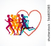 running marathon  people run ... | Shutterstock .eps vector #566805385
