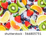fresh fruits background.slices... | Shutterstock . vector #566805751