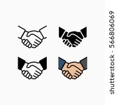 handshake icon set simple... | Shutterstock .eps vector #566806069