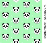 cute panda head on white dots... | Shutterstock .eps vector #566807971