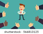 happy and proud businessman... | Shutterstock .eps vector #566813125