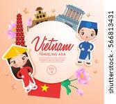 traveling asia   vietnam... | Shutterstock .eps vector #566813431