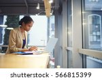 mindful professional female... | Shutterstock . vector #566815399