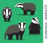 cute badger cartoon poses... | Shutterstock .eps vector #566816737