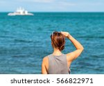 woman looking at sea. trendy... | Shutterstock . vector #566822971