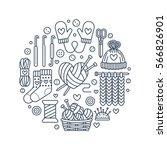 knitting  crochet  hand made... | Shutterstock .eps vector #566826901