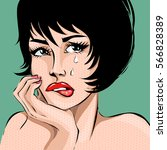 pop art comics style crying...   Shutterstock .eps vector #566828389