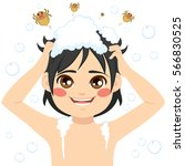 cute little boy washing hair...