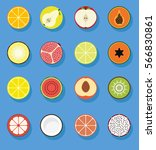 fruit flat icons collection... | Shutterstock .eps vector #566830861