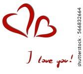 gift card. vector  red heart... | Shutterstock .eps vector #566832664