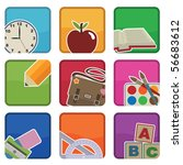 bright school icons with motifs ... | Shutterstock .eps vector #56683612