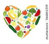 veg heart. organic farm... | Shutterstock .eps vector #566841559