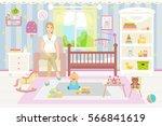 baby room interior. flat design....   Shutterstock .eps vector #566841619