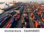 container container ship in... | Shutterstock . vector #566848885