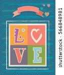 happy valentine's day vintage... | Shutterstock .eps vector #566848981