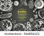 brazilian cuisine top view... | Shutterstock .eps vector #566856121