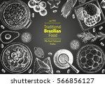 brazilian cuisine top view... | Shutterstock .eps vector #566856127