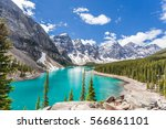 moraine lake in banff national... | Shutterstock . vector #566861101