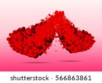 two hearts of many small hearts   Shutterstock .eps vector #566863861