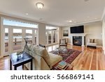luxury spacious family room... | Shutterstock . vector #566869141