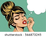 pop art comic style woman with... | Shutterstock .eps vector #566873245