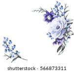 watercolor flowers. floral... | Shutterstock . vector #566873311