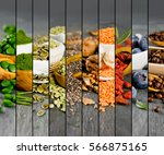 top view of mixed colorful... | Shutterstock . vector #566875165