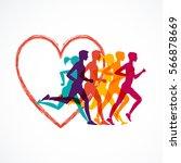 running marathon  people run ... | Shutterstock .eps vector #566878669