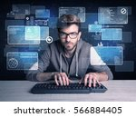 a confident young hacker... | Shutterstock . vector #566884405