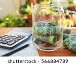 australia bank note coins... | Shutterstock . vector #566884789