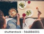 top view of beautiful couple... | Shutterstock . vector #566886001