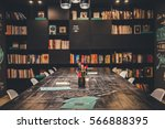modern stylish library with... | Shutterstock . vector #566888395