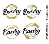 set of bakery hand written... | Shutterstock .eps vector #566889289