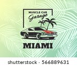 muscle car logo on palm leaf... | Shutterstock .eps vector #566889631