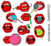 funny set of female lips... | Shutterstock .eps vector #566890525