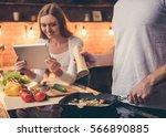 handsome guy is cooking in the...   Shutterstock . vector #566890885