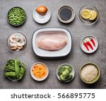 raw chicken breast fillet in...   Shutterstock . vector #566895775