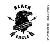 black eagle. hand drawn emblem. | Shutterstock . vector #566899099