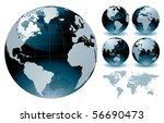 world globe maps   editable... | Shutterstock .eps vector #56690473