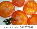 tomato slices close up on white ... | Shutterstock . vector #566909944