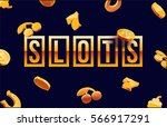 777 slots 3d element isolated ... | Shutterstock .eps vector #566917291