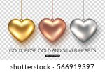 set of rose  gold and silver... | Shutterstock .eps vector #566919397