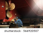welder man working in ship yard ... | Shutterstock . vector #566920507